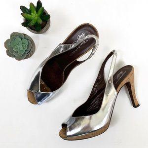 Donald Pliner Metallic Silver Slingback Heel | 8.5